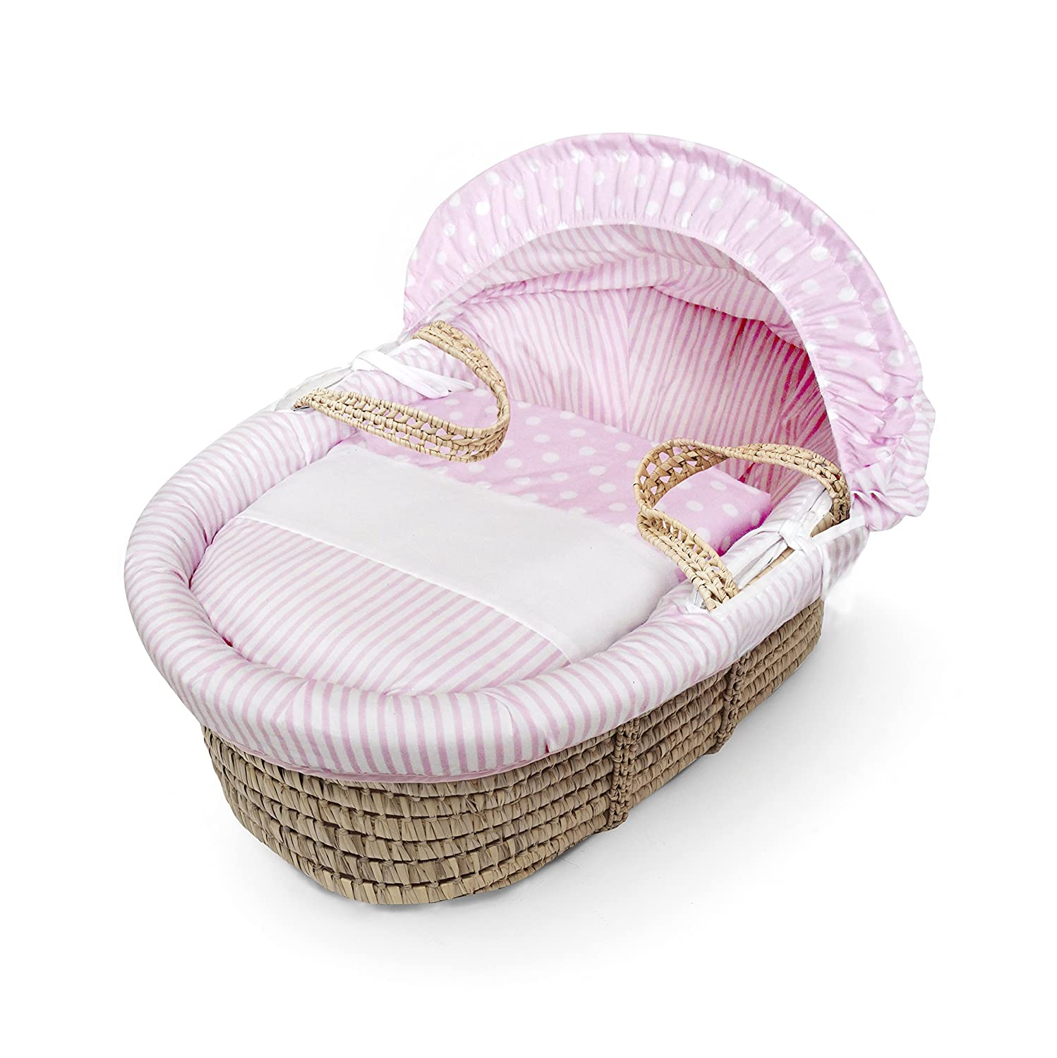 Pink Spots & Stripes Moses Basket Dressings only(Basket not included) Elegant Baby