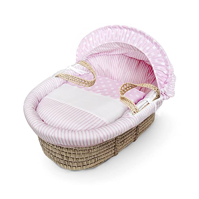 Pink Dimple  Moses  Basket  4 Piece Dressing Basket Not Included