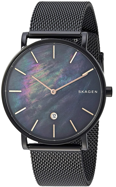 Skagen Hagen Slim Mother-of-Pearl Black Steel-Mesh Watch ... cdcd078cea