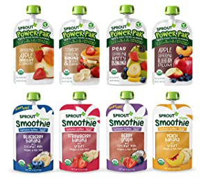 Sprout Organic Baby Food Toddler Pouches Stage 4, Variety Sampler, 8 Flavors, 4 Ounce Pouches (Pack of 12)