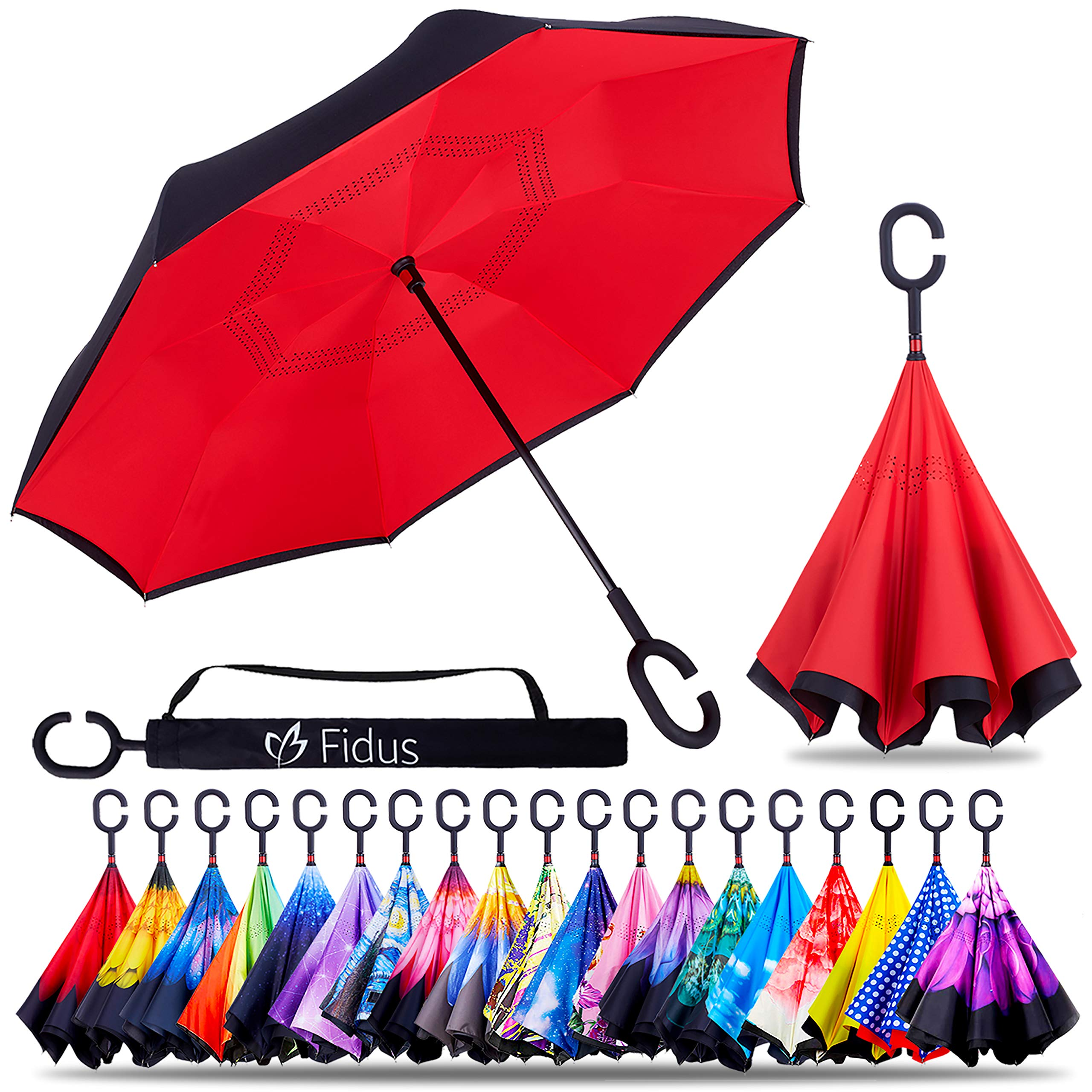 Fidus Double Layer Inverted Reverse Umbrella, Winproof Waterproof Folding UV Protection Self Stand Upside Down Large Car Rain Golf Outdoor Rain Umbrella with C-Shaped Handle for Men Women(Red)