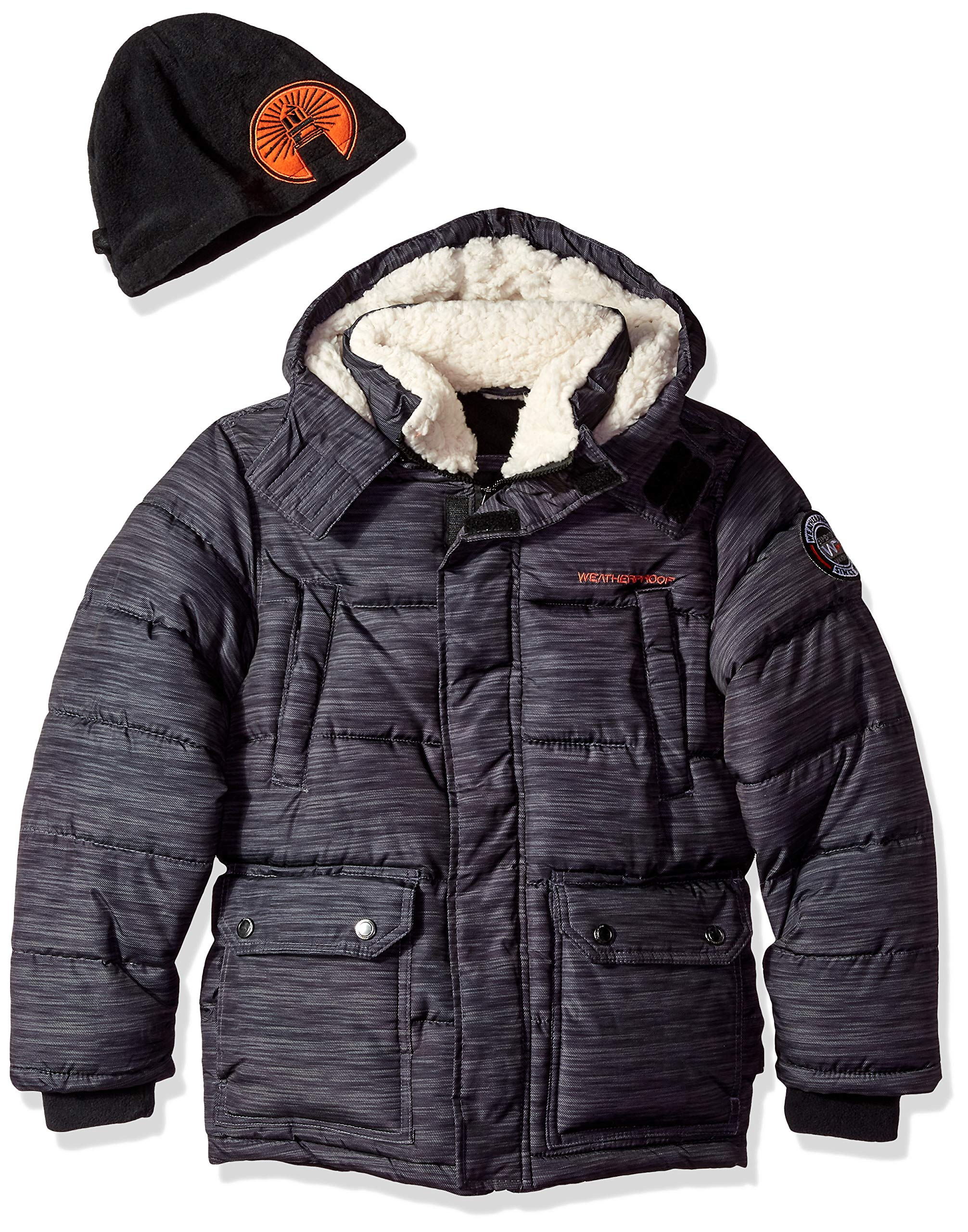 Weatherproof Boys' Big Bubble Jacket, Long Heather Charcoal, 14/16
