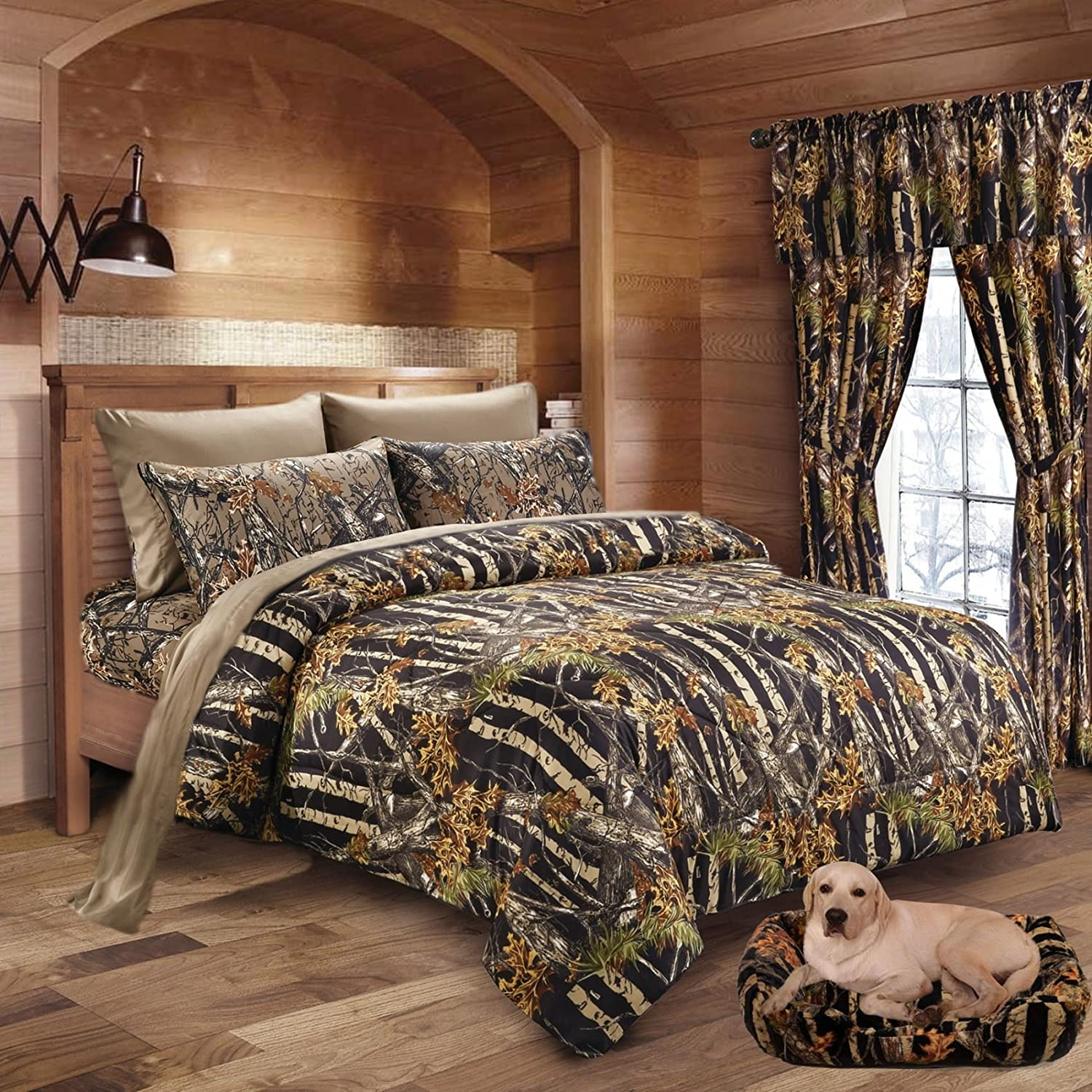20 Lakes Woodland Hunter Camo Comforter, Sheet, Pillowcase Set (Twin, Black & Forest)