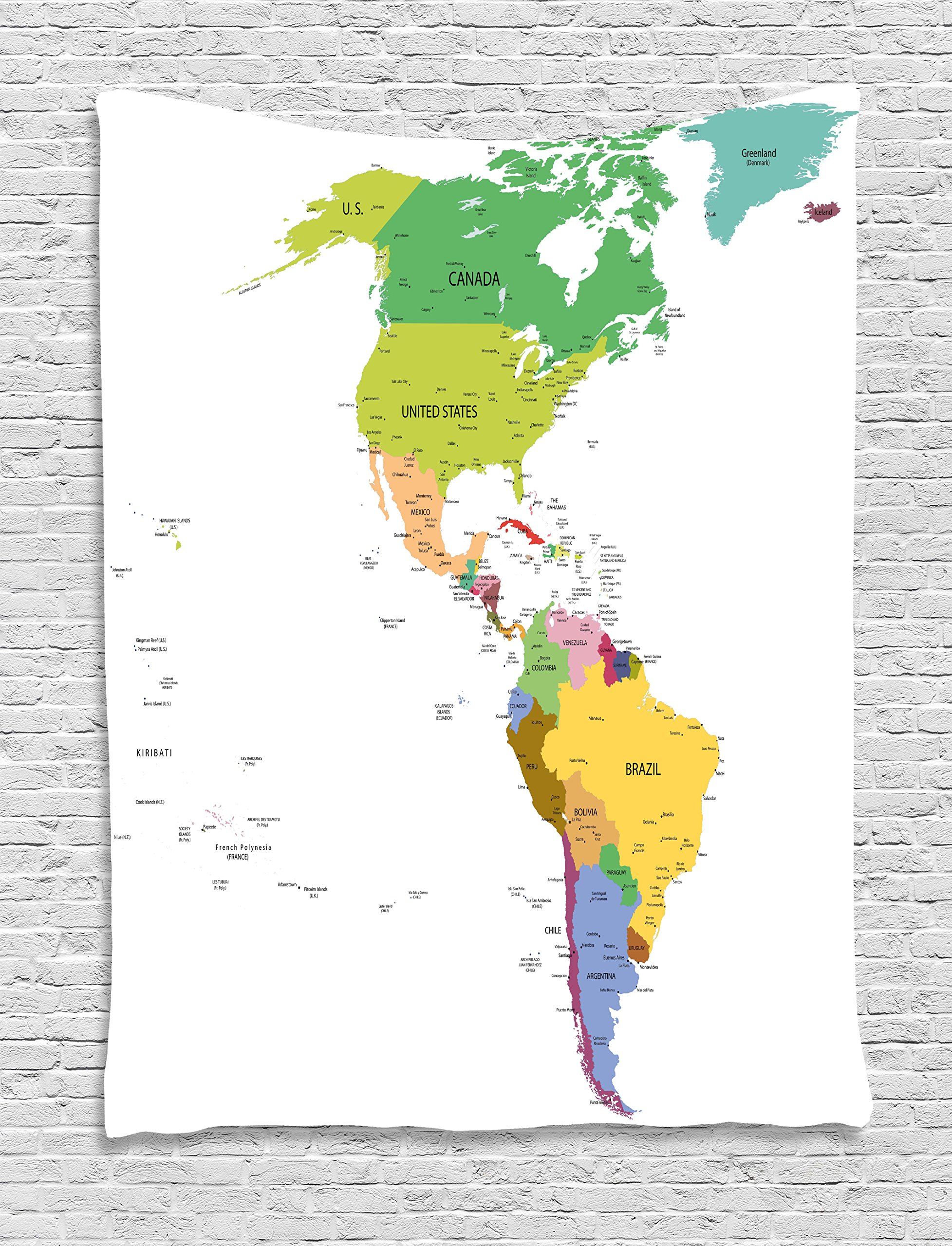 Ambesonne Map Tapestry, Map of South and North America with Countries Capitals and Major Cities Colorful Design, Wall Hanging for Bedroom Living Room Dorm, 40 W X 60 L inches, Multicolor