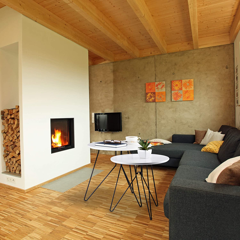 H x D 48 x 48 cm ca e 40 x 40 cm Legno MDF Relaxdays Set 2 Pezzi Tavolini da Soggiorno Nero-Bianco Sovrapponibili Rotondi