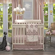 Glenna Jean Remember My Love Mini Crib 2 Piece Bedding Set Includes Dust Ruffle and Fitted Sheet, Pink