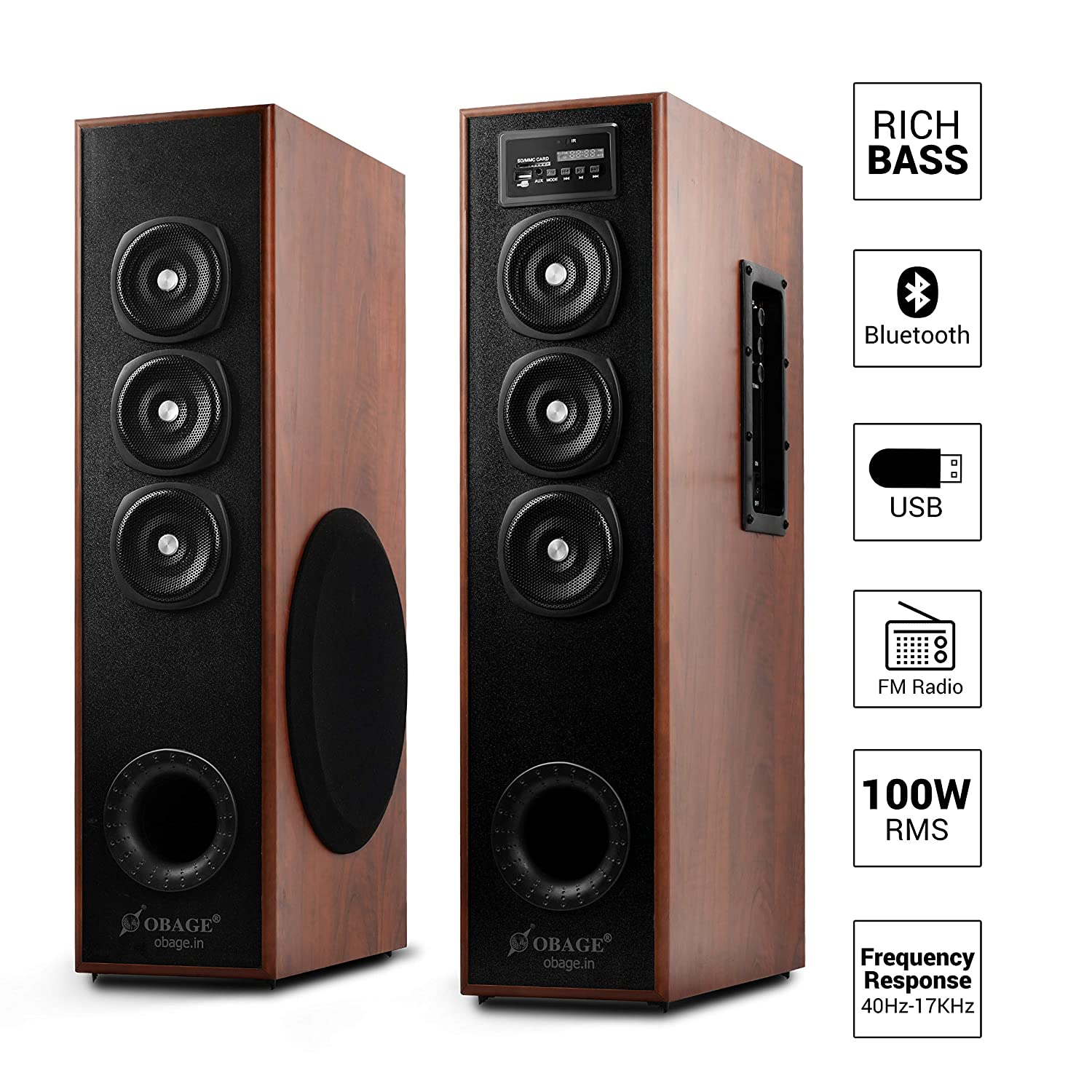 OBAGE DT-2605 Bluetooth Home Theater Tower Speaker with USB,MMC,FM
