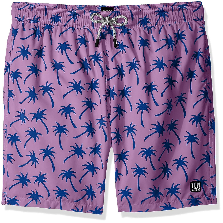b1c0e3f9c91a1 Tom & Teddy Men's Palms Swim Trunks   Amazon.com