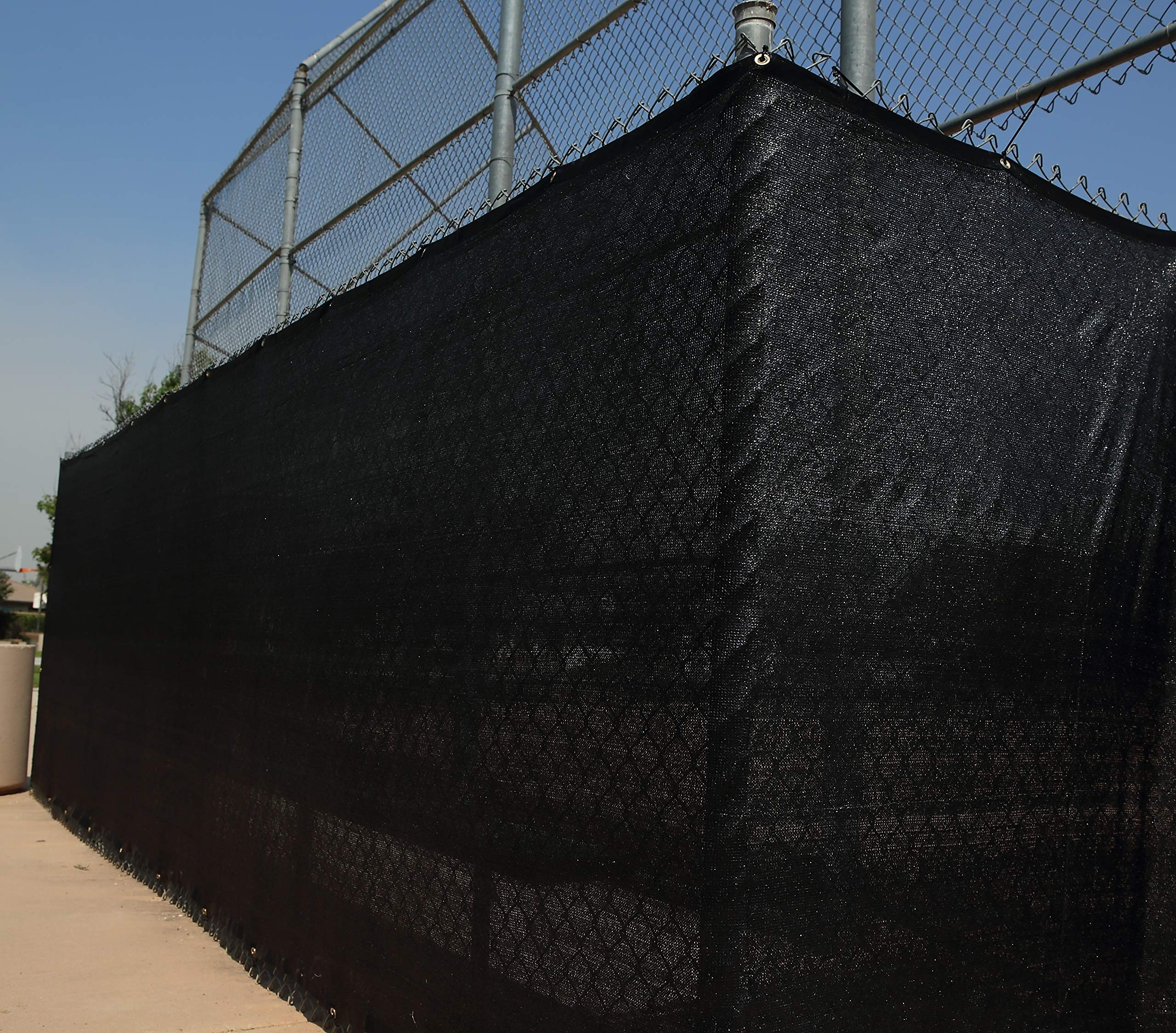 Heavy Duty 6 ft. X 50 ft. Privacy Windscreen Fence Screen Mesh Tarps W/Binding and Grommets (1, Black) by WindscreenSupplyCo