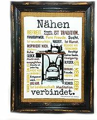 AnneSvea Nähen verbindet. Druck Poster Nähmaschine Sewing Handmade Deko für Das Nähzimmer Nähkurs Raum