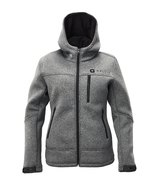 Kelvin Heated Jacket Women - 5 Heat Zones, 10Hr Battery Best Heated Coat Grey - XSmall Kelvin Techstyles