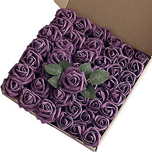 Breeze Talk Artificial Flowers 45pcs Plum Rose Buds & Small Roses w/Stem DIY Wedding Bouquets Centerpieces Arrangements Baby Shower Party Home Decorations (Plum)