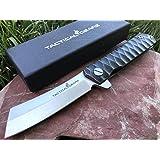 TacticalGearz Black Titanium Stainless Steel Folding Knife w/Sheath! Polished D2 Steel Blade! Ball Bearing Piviot System!