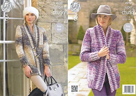 741b941ad King Cole Ladies Easy Knit Super Chunky Tints Knitting Pattern Ribbed  Detail Jackets (4290)  Amazon.co.uk  Kitchen   Home