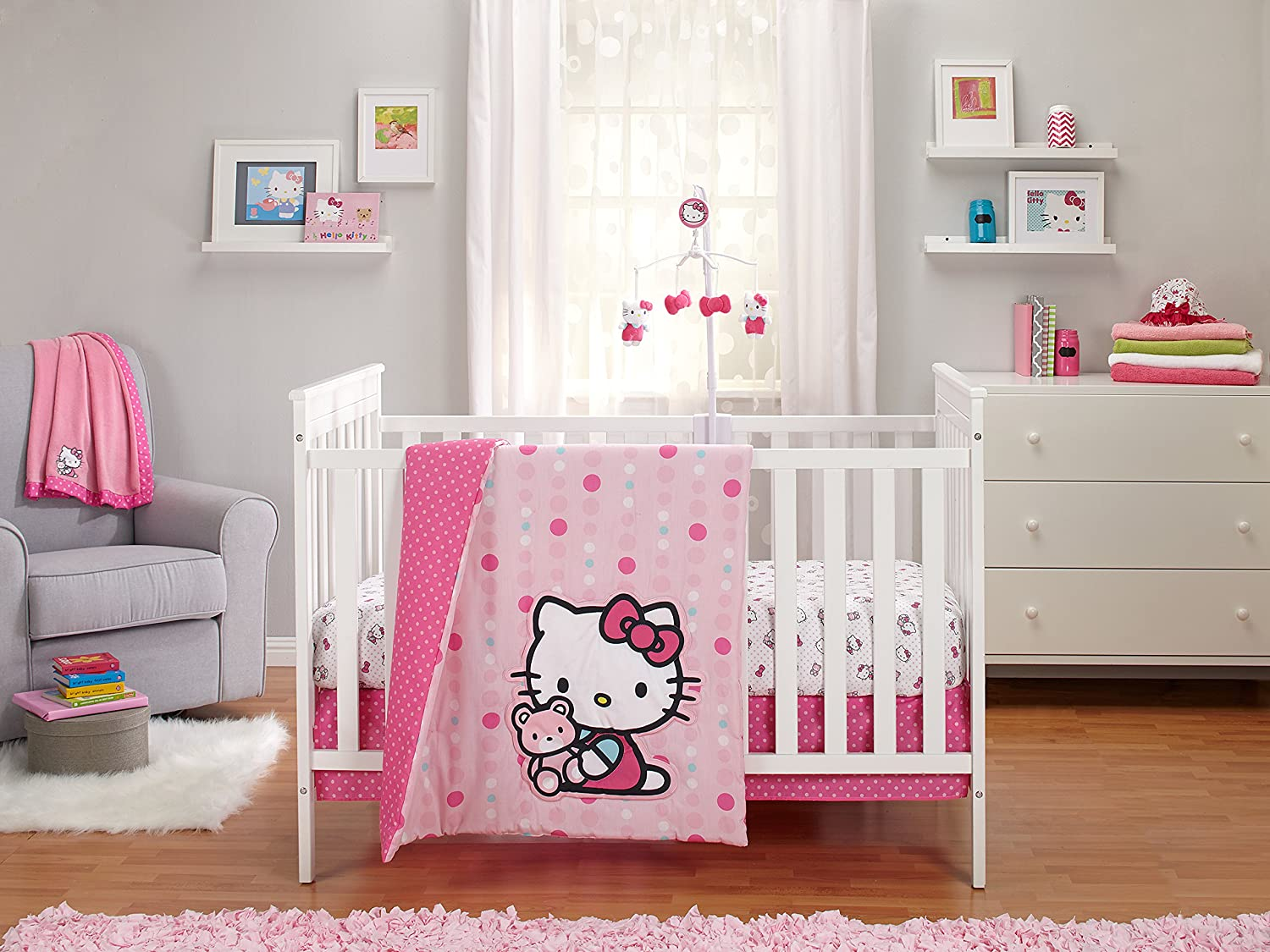 Hello kitty baby room - Amazon Com Sanrio Hello Kitty Cute As A Button 3 Piece Crib Bedding Set Pink White Baby