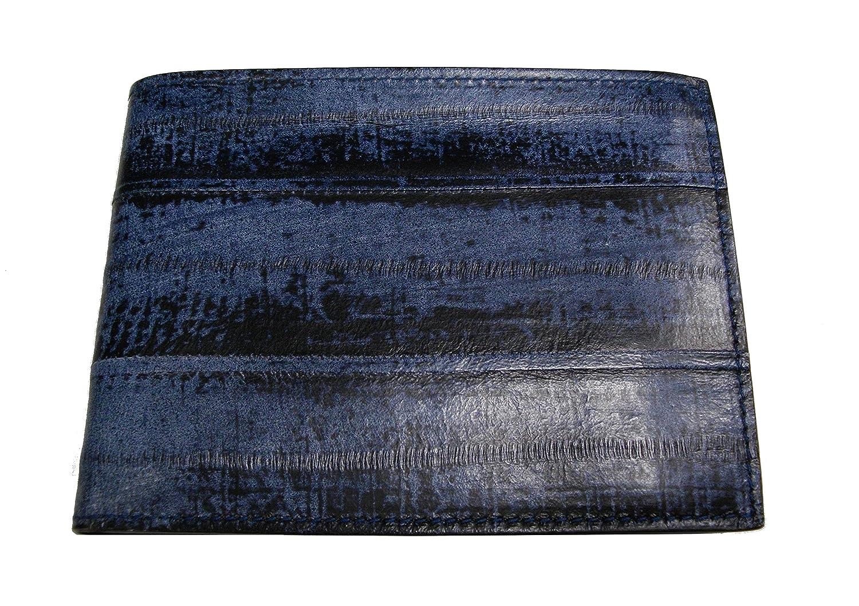 Portafoglio in Vera Anguilla, con porta documenti orizzontale, portamonete e ribalta. Pelle 100% Made in Italy. Pelle di pregio, rifiniture artigianali. (Blu Marino)