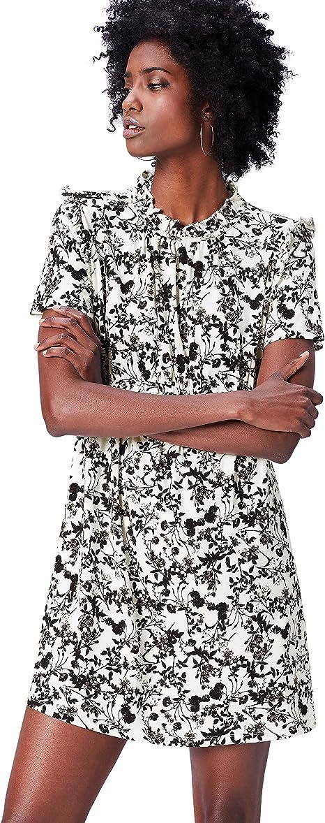TALLA 44 (Talla del Fabricante: X-Large). find. Vestido Corto de Flores Mujer Multicolor (Black Mix) 44 (Talla del fabricante: X-Large)