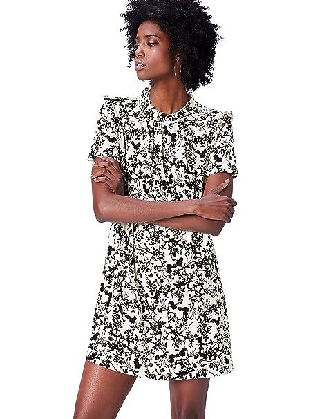 FIND Vestido Midi de Estampado Floral y Manga Corta para Mujer: Amazon.es: Ropa y accesorios
