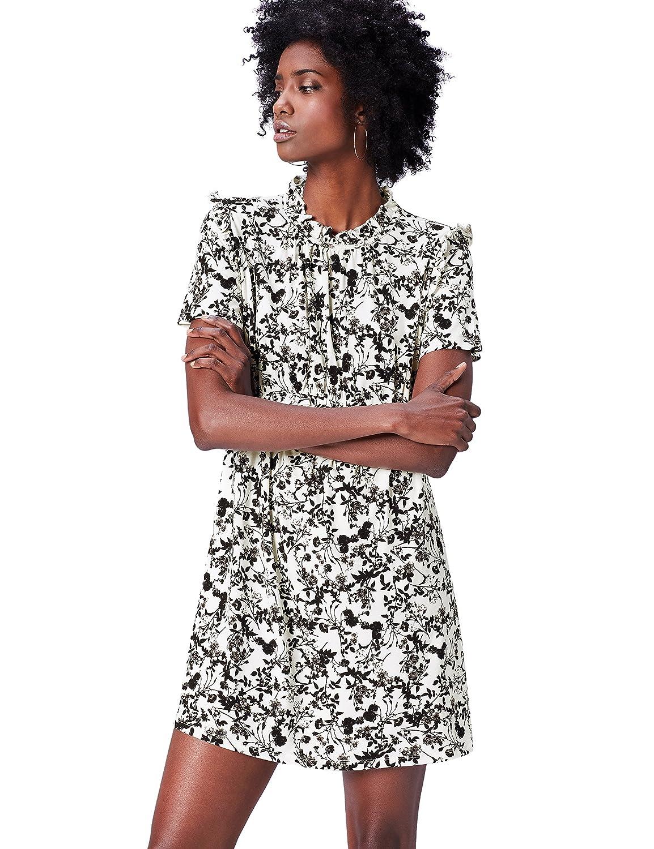 TALLA 44 (Talla del Fabricante: X-Large). Marca Amazon - find. Vestido Corto de Flores Mujer Multicolor (Black Mix) 44 (Talla del fabricante: X-Large)