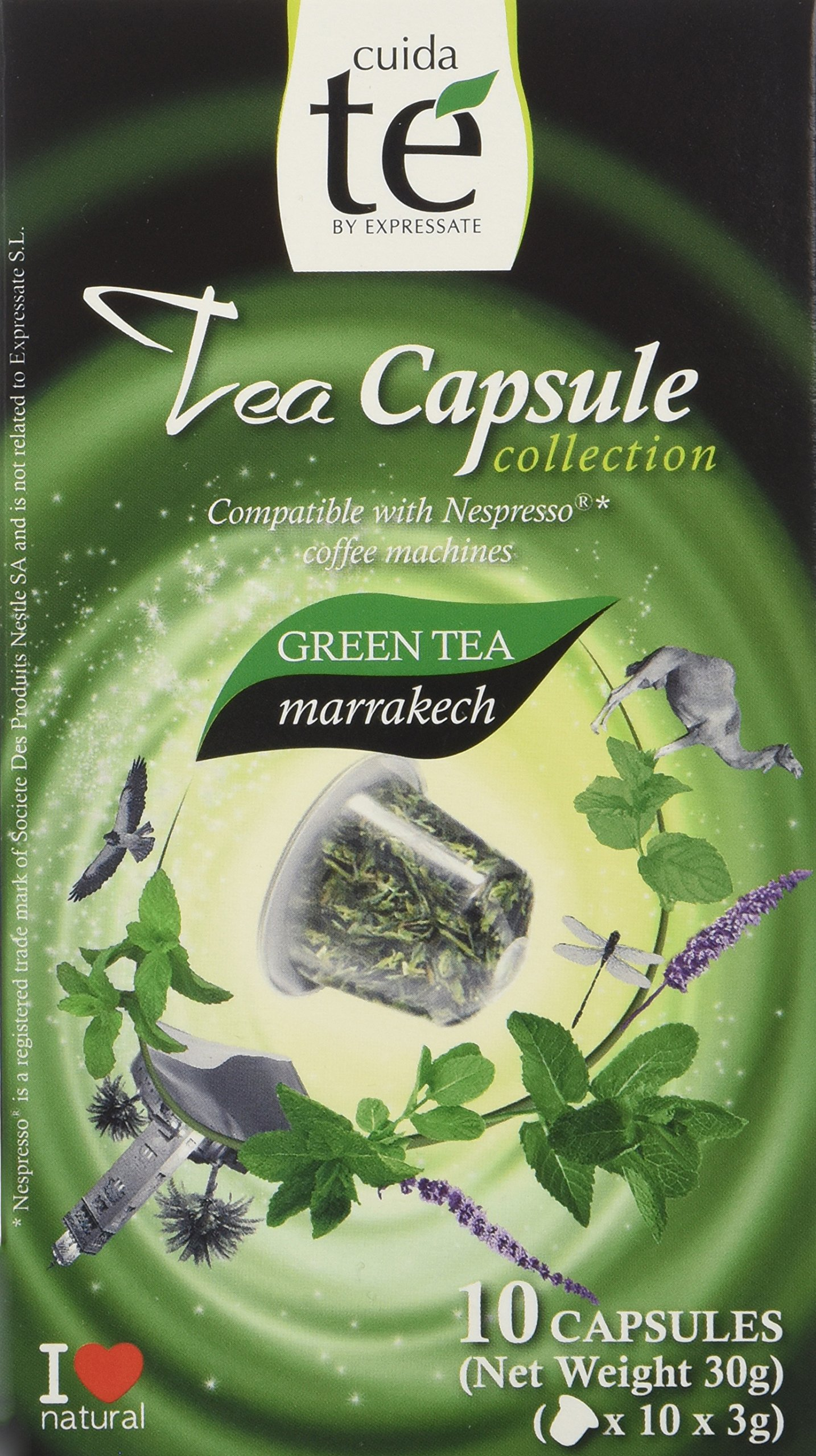 30 Nespresso Compatible Pods - Origen Tea, Marrakech Green Tea, 3 Boxes - 10 Pods / Box
