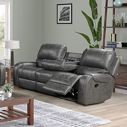 Roundhill Furniture Achern Leather-Air Nailhead Manual Reclining Sofa and Loveseat