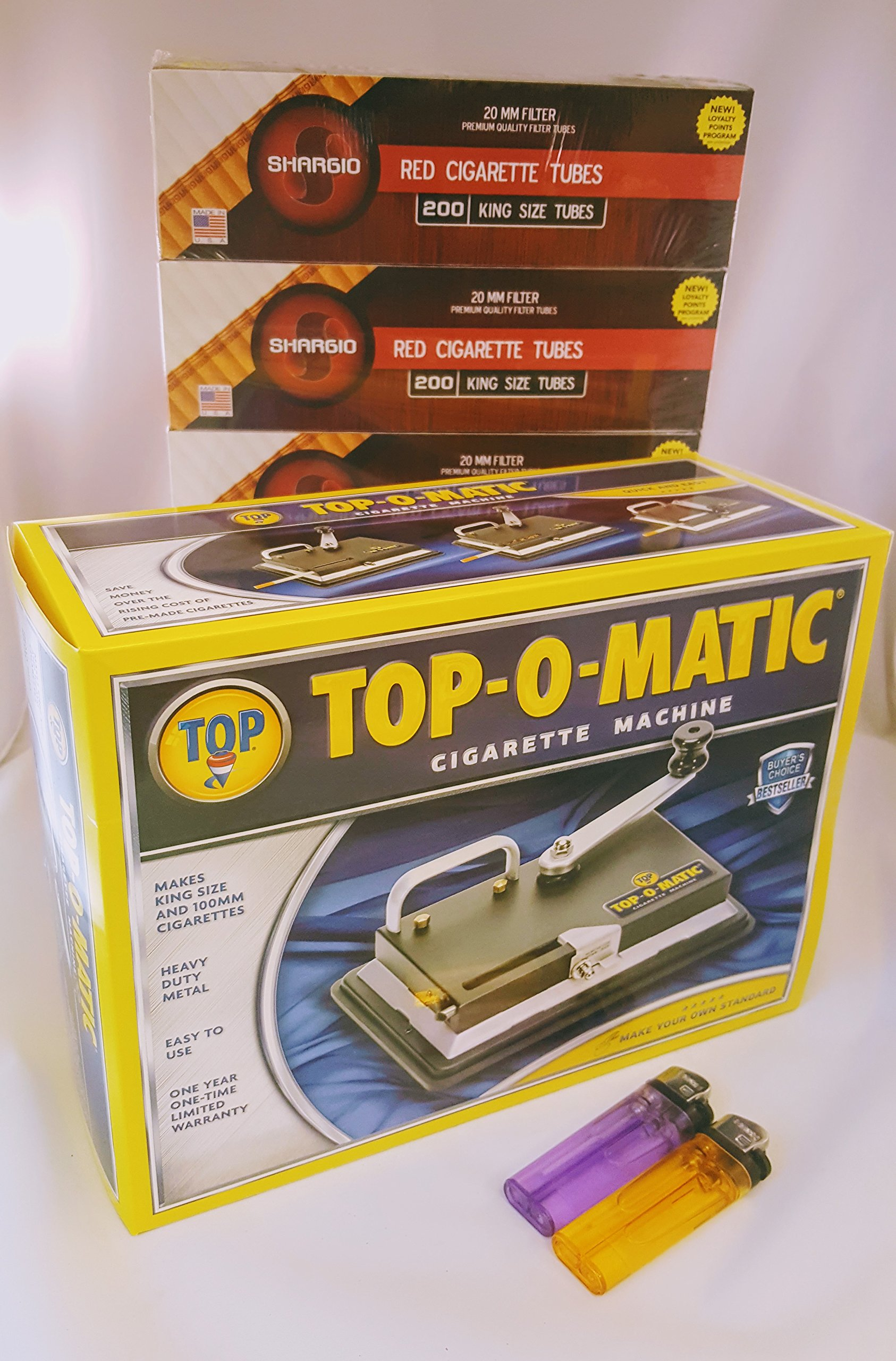 New Top-O-Matic Cigarette Rolling Machine+ FREE Shargio tubes & liighters by Top-O-Matic