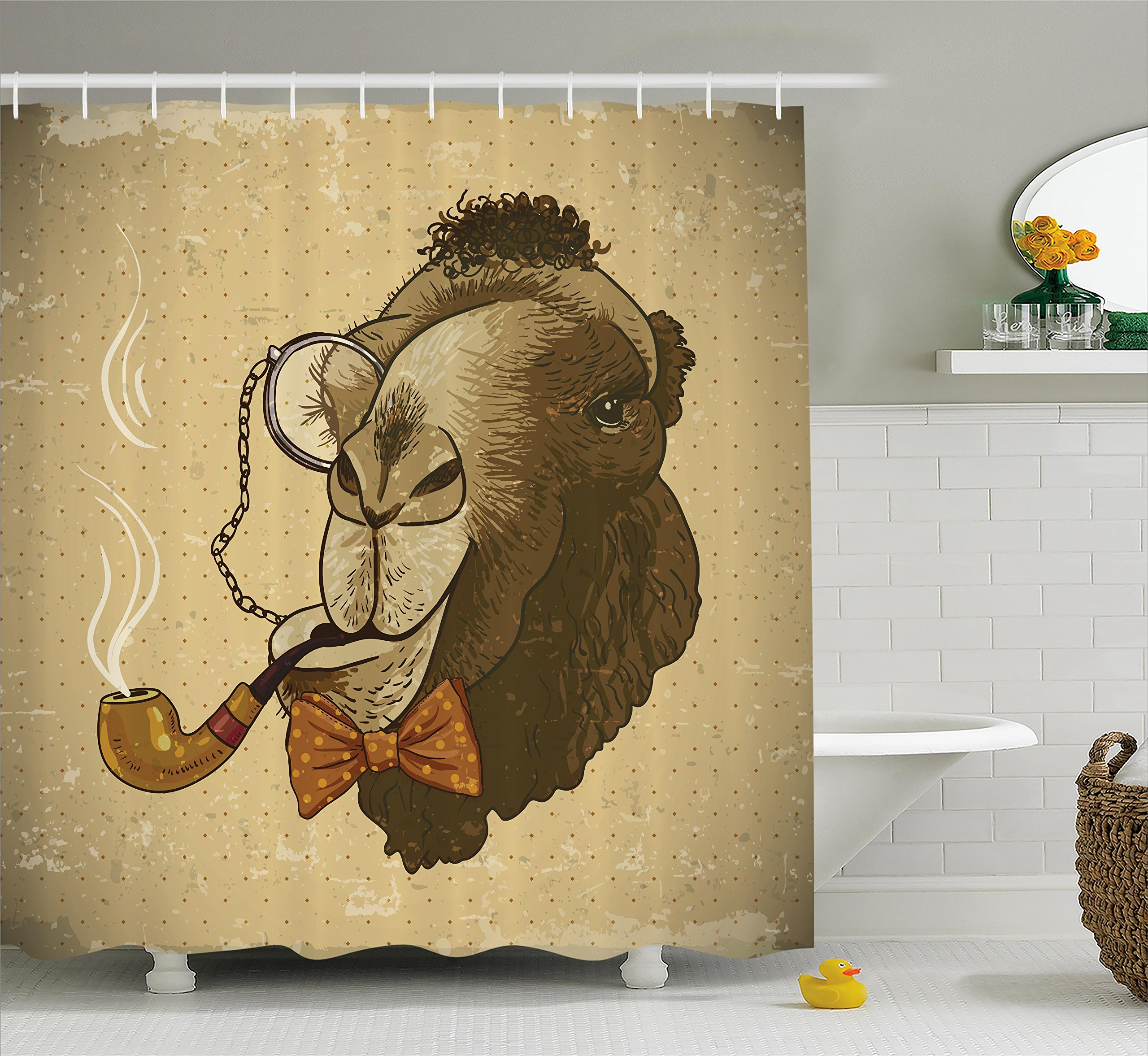 Ambesonne Animal Shower Curtain, Pop Art Stylized Hipster Camel with Pipe and Monocle Vintage Humor Fun Cool Graphic, Fabric Bathroom Decor Set with Hooks, 75 inches Long, Brown Tan