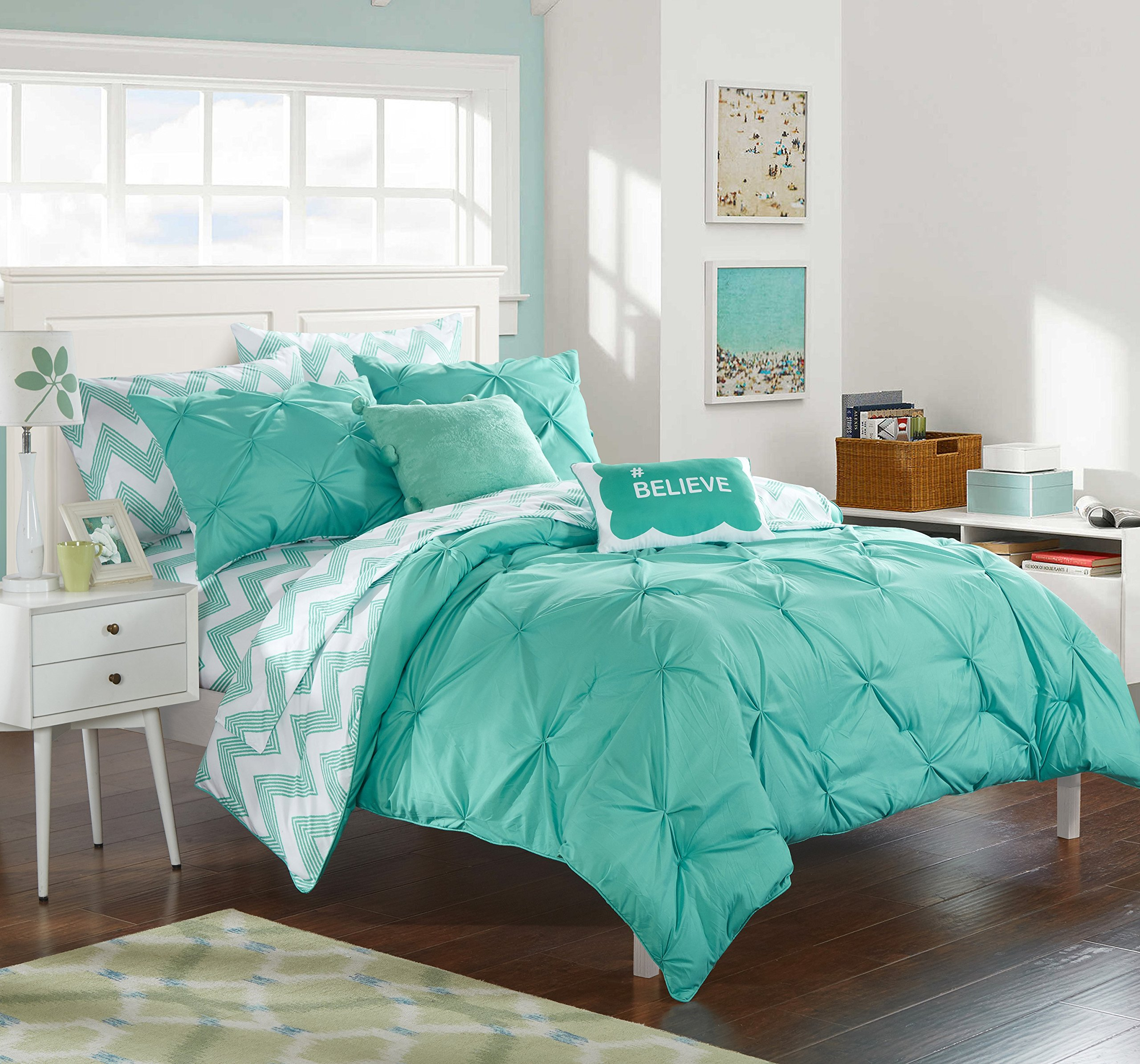 Chic Home 9 Piece Louisville Pinch Pleated and Ruffled Chevron Print Reversible Bed In a Bag Comforter Set Sheets, Full, Aqua by Chic Home