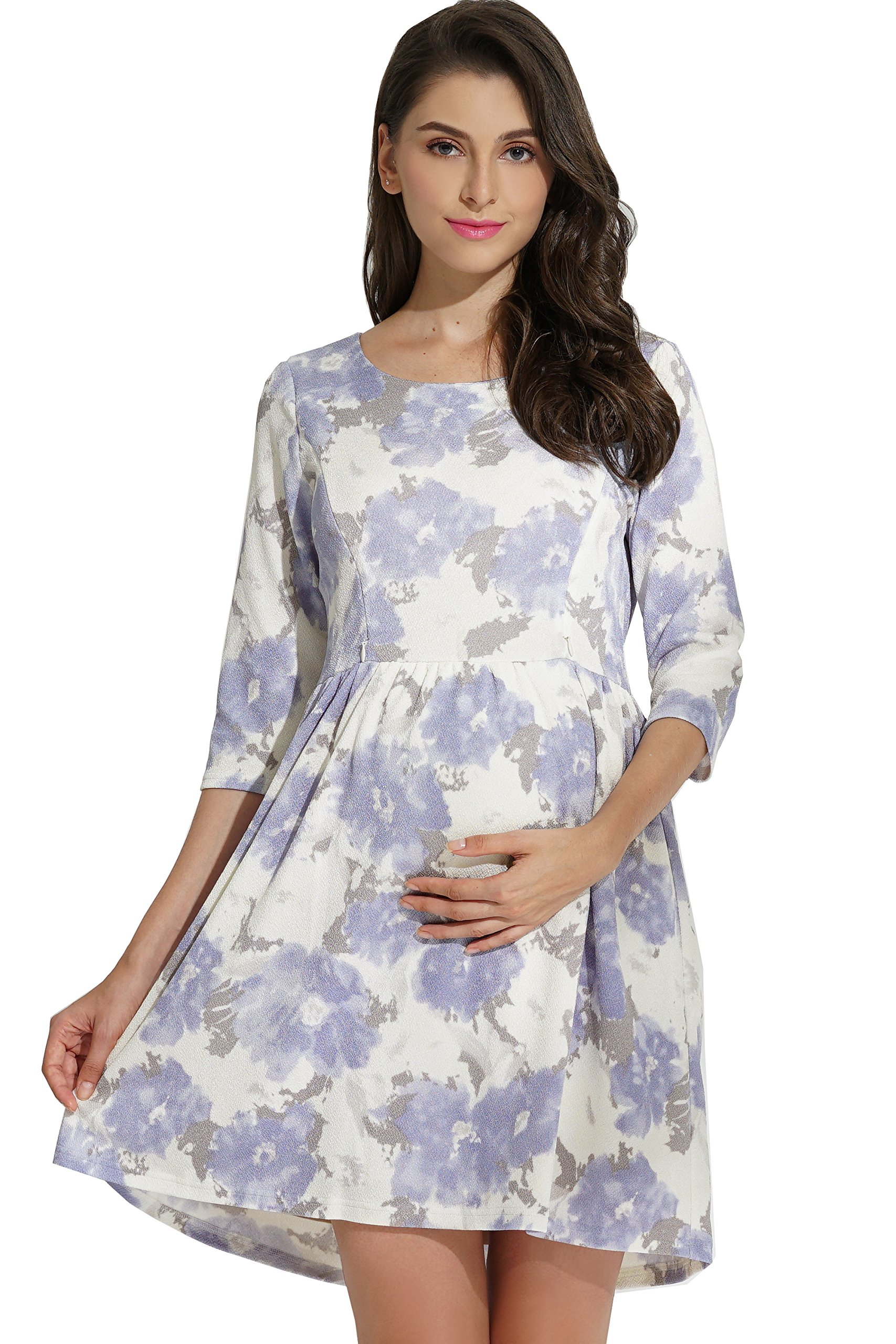 Sweet Mommy Maternity and Nursing Floral Print Baby Shower Party Dress, Blue M