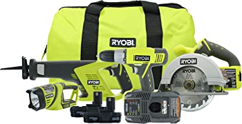4-Piece Ryobi P883 ONE+ 18V Lithium-Ion Cordless Super Combo Kit