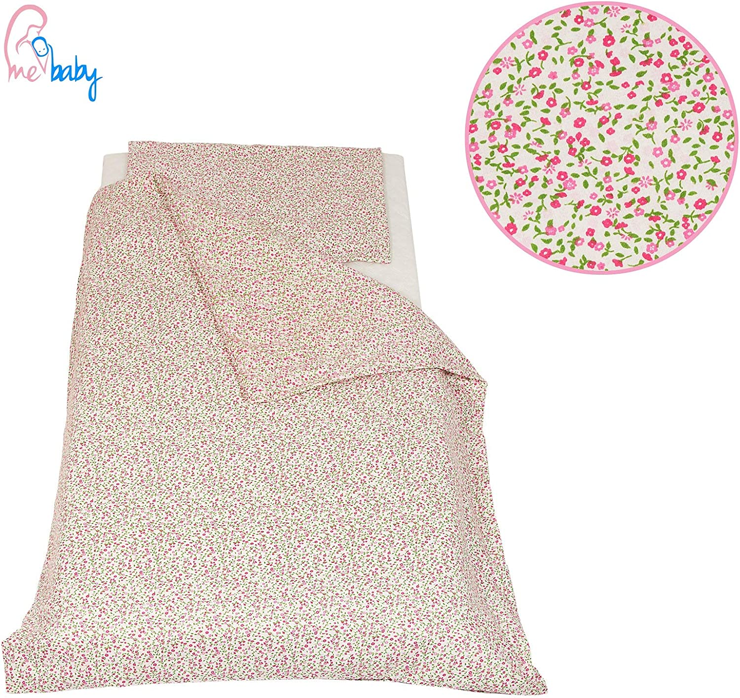 Cot Duvet Cover and Pillowcase Set 100 x 135 cm 100/% COTTON pink /& grey stars