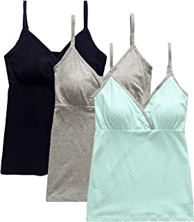 fde2a00bece83 Nursing Tops Tank Shirt Cami Sleep Bra for Maternity and Breastfeeding  3PCS Pack