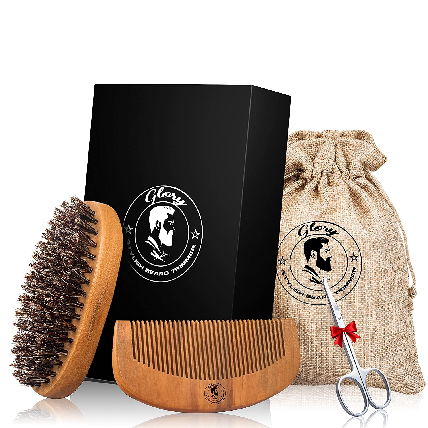 BEARD BRUSH AND COMB PREMIUM SET FOR MEN – WOODEN COMB GROOMING SET FOR IMPECCABLE STYLE WITH TRAVEL POUCH – POCKET SIZE – BONUS: FREE PRECISION-TRIMMING SCISSORS Stylish Beard Trimmer