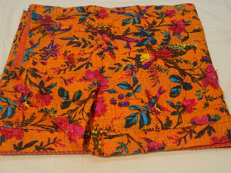Tribal Asian Textiles Bird Print King Size Kantha Quilt Orange Kantha Blanket, Bed Cover, King Kantha Bedspread, Bohemian Bedding Kantha Size 230cm X 270cm B013N7CDCO