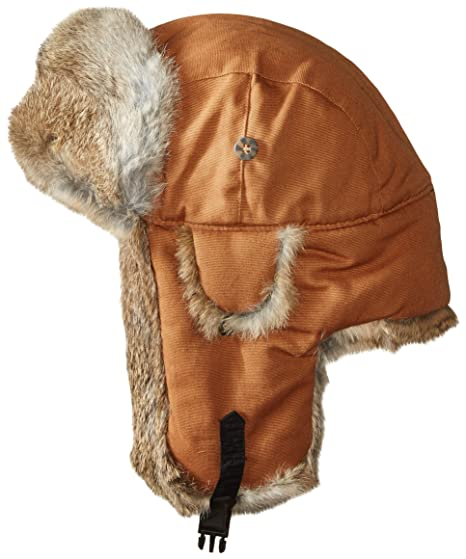 bd0d48f5 Mad Bomber Brown Canvas Aviator Pilot Hat Real Rabbit Fur Trapper Hunting  Cap, XX-