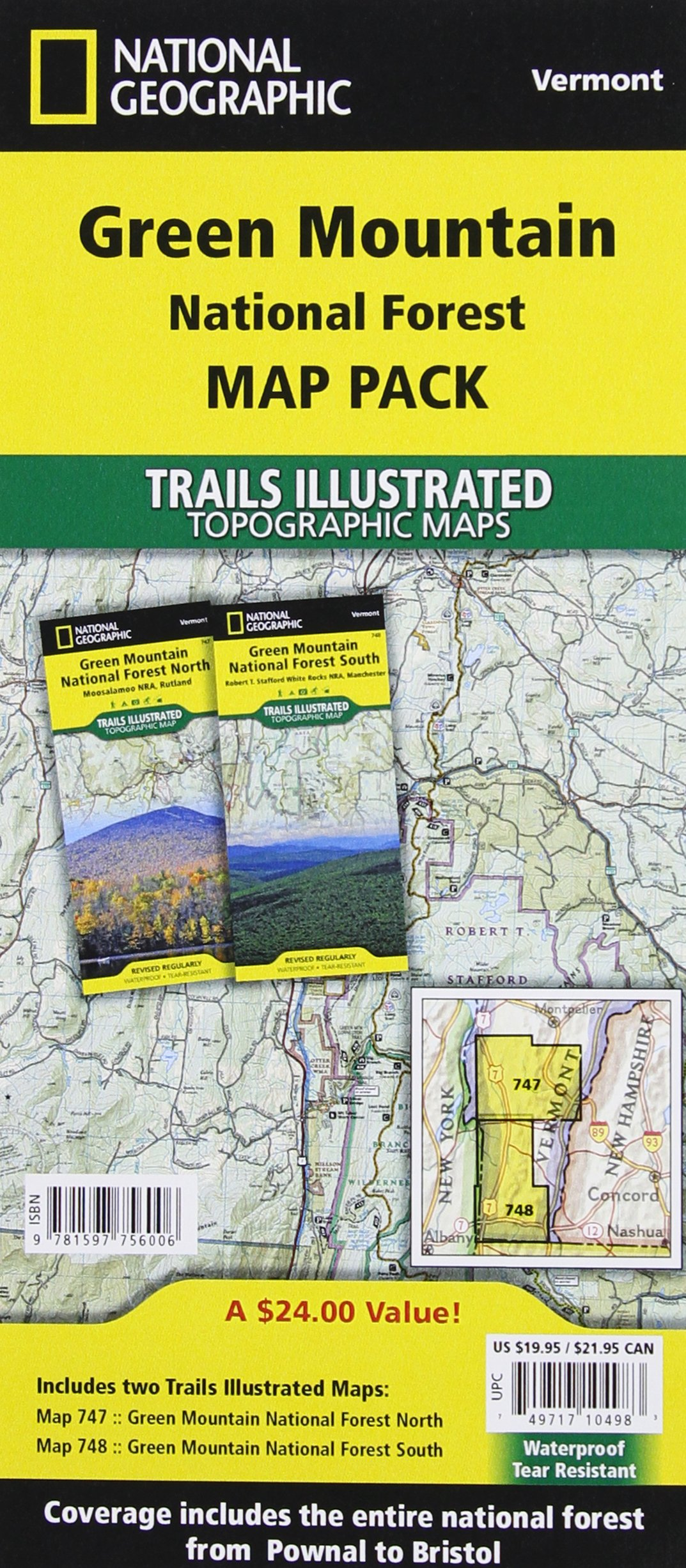 Green Mountain National Forest map Pack Bundle National Geographic ...
