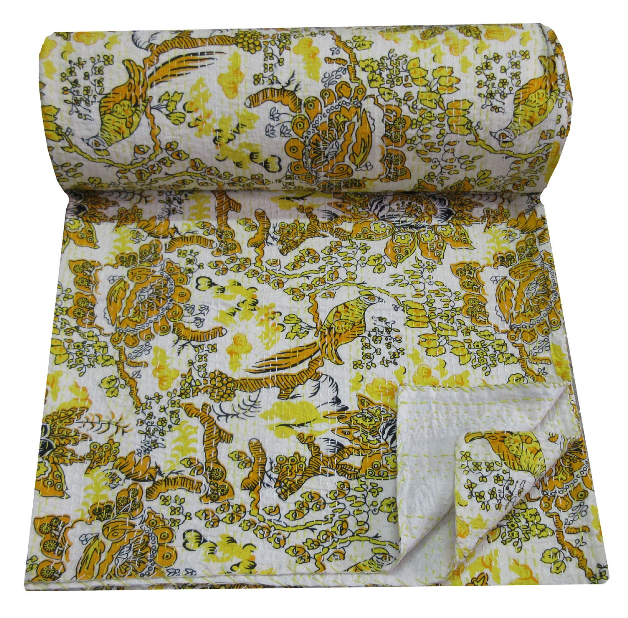 Magic Indians Yellow Handmade Sari Kantha Quilt Floral Bird Design Kantha Bedspread Indian Cotton Kantha Blanket Colorful Kantha Bed Cover Queen Size Kantha Beach Throw Picnic Throw Kantha Wall Decor