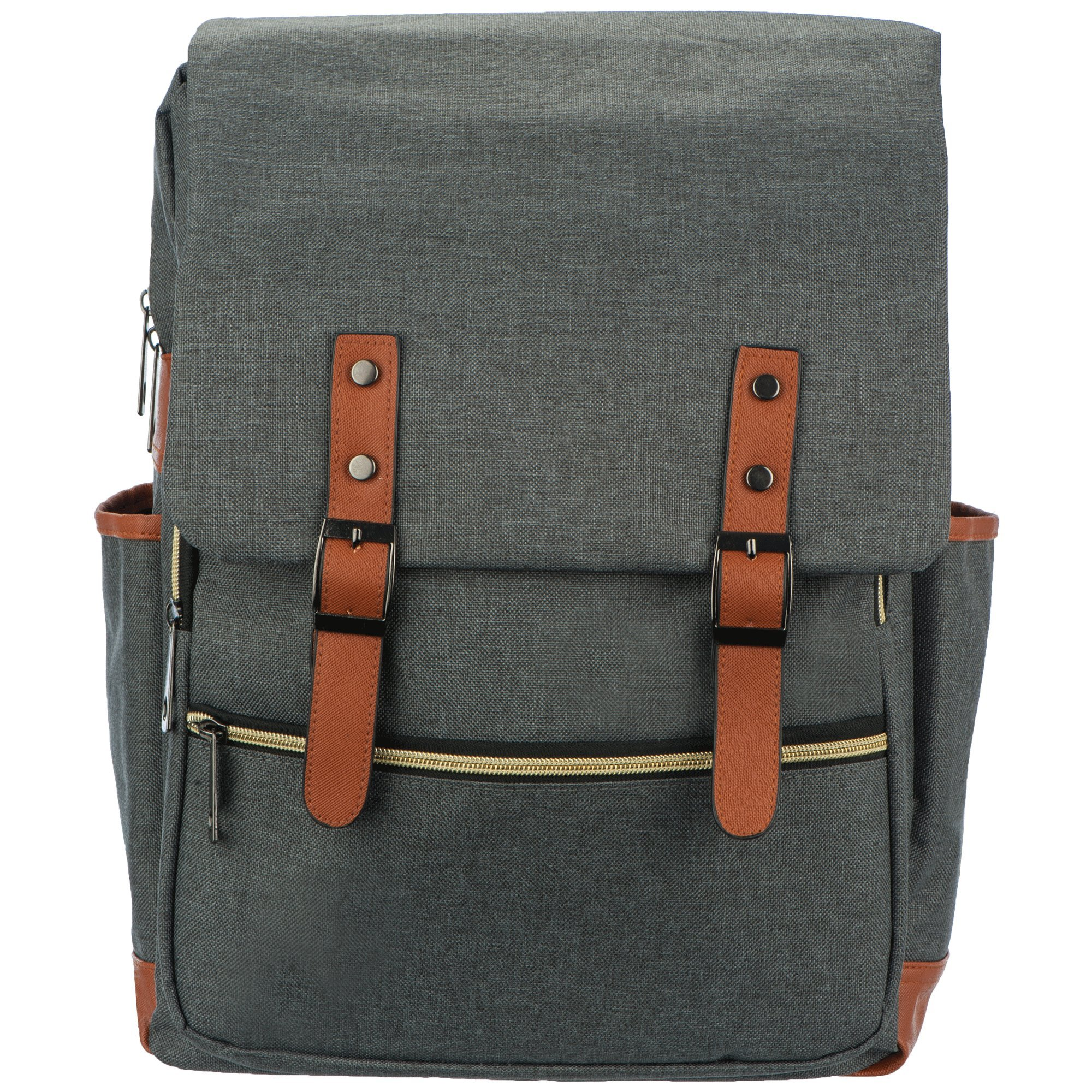 Diaper Bag Backpack with Grey Modern Unisex Design includes Change Pad and Thermal  Bottle Holder By