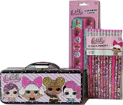 LOL- Caja de almacenamiento con reglas y 12 lápices de diseño LOL ...