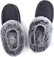 ULTRAIDEAS Women's Comfort Micro Suede Memory Foam Slippers Non Skid House Shoes w/Faux Fur Collar