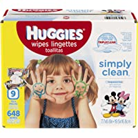 9-Pack 72 Count Huggies Simply Clean Unscented Soft Pack Baby Wipes