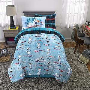 Franco Kids Bedding Super Soft Comforter and Sheet Set with Bonus Sham, 5 Piece Twin Size, Disney Frozen 2 Olaf