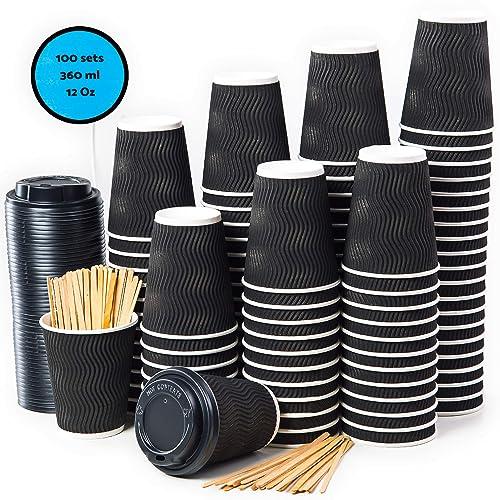 100 Noir Ondulation Double Paroi Gobelets Carton pour Café à Emporter - Tasse Café 360ml avec Couvercles et Agitateurs en Bois pour Servir le Café, le Thé, des Boissons Chaudes et Froides
