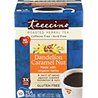 Teeccino Dandelion Caramel Nut Flavoured Herbal Coffee, 10 x 10 Count