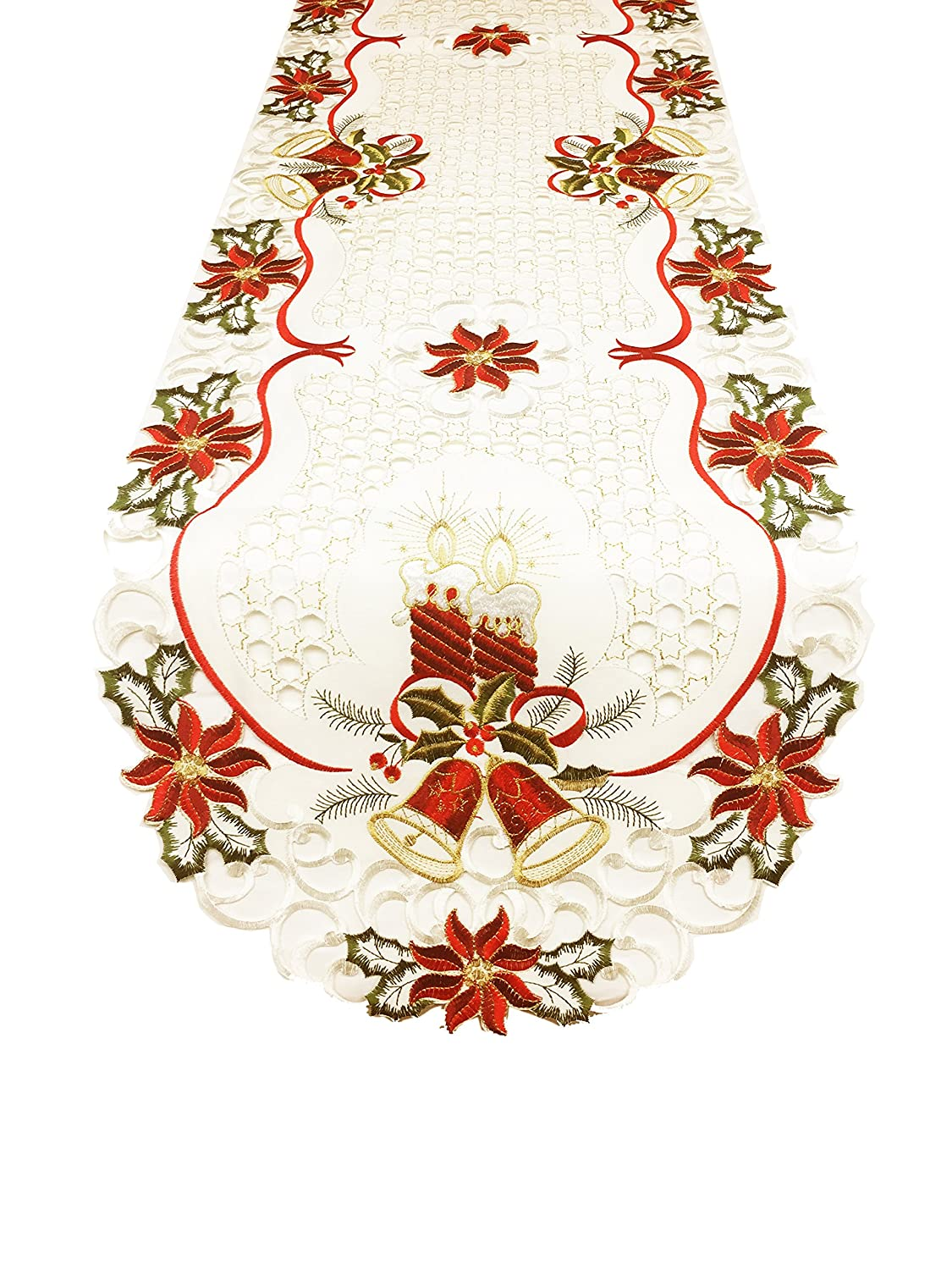 Fennco Styles Holiday Embroidered Christmas Design Cutwork