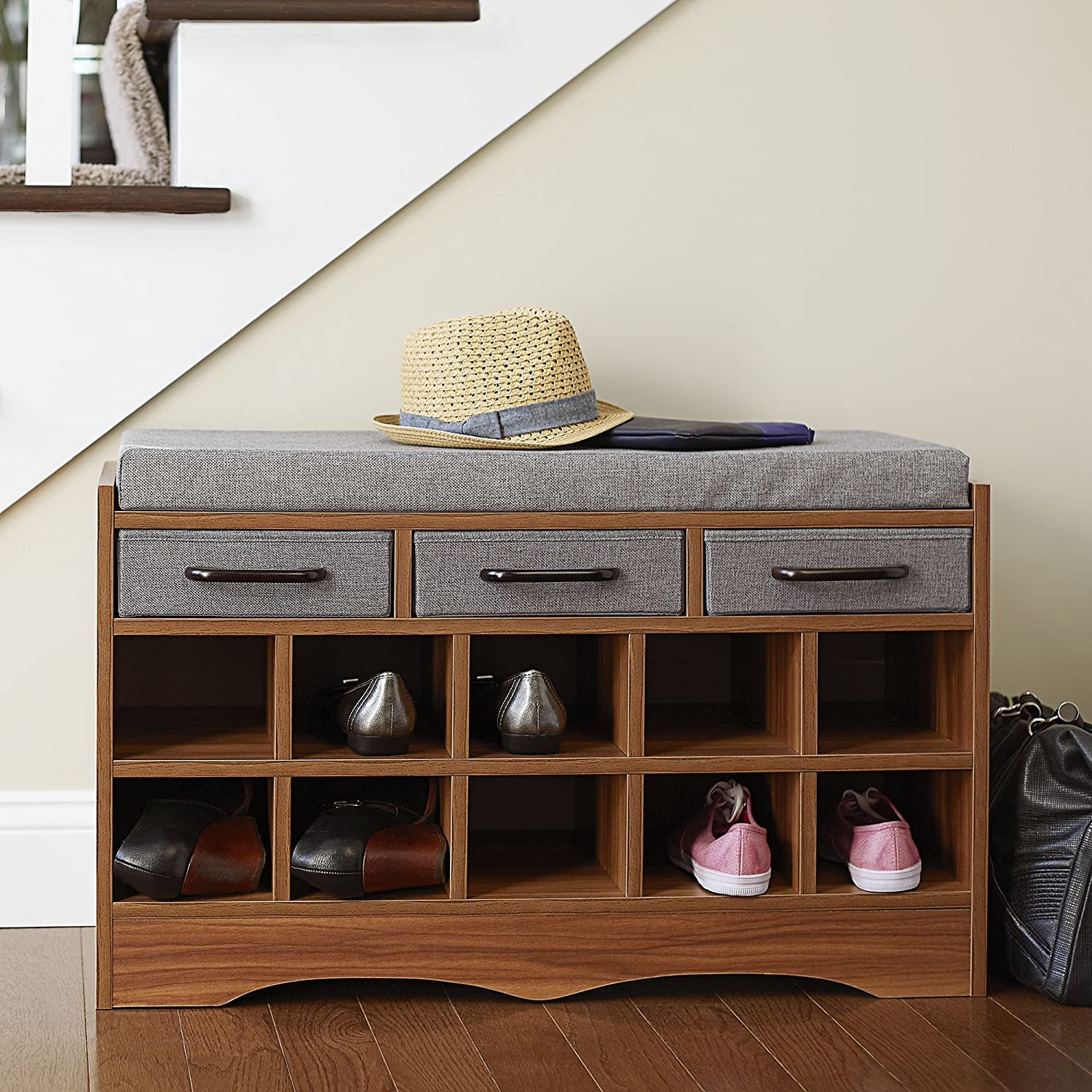 Amazon.com Household Essentials Entryway Shoe Storage Bench with Cushion and Drawers Brown Home u0026 Kitchen & Amazon.com: Household Essentials Entryway Shoe Storage Bench with ...