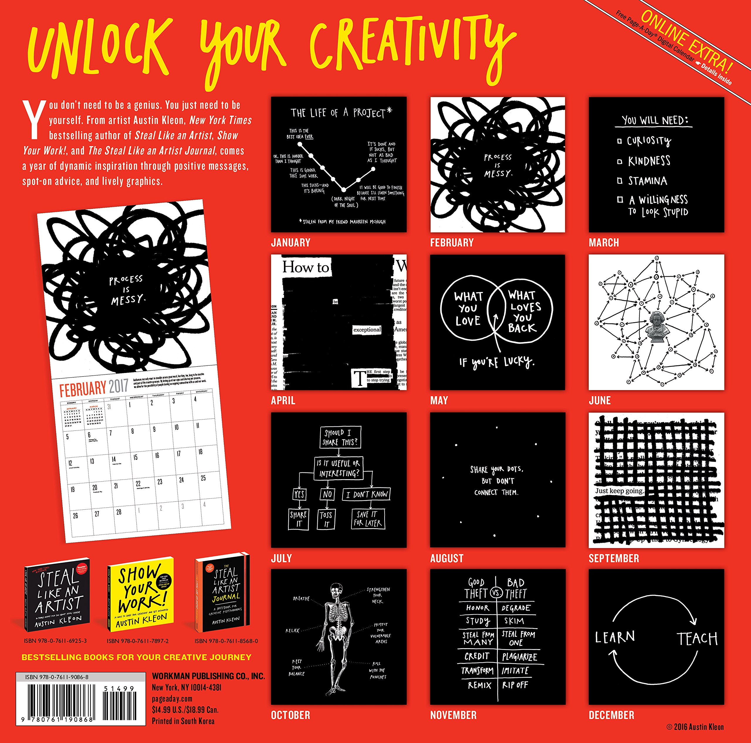 Steal Like an Artist Wall Calendar 2017: Austin Kleon: 9780761190868:  Amazon.com: Books