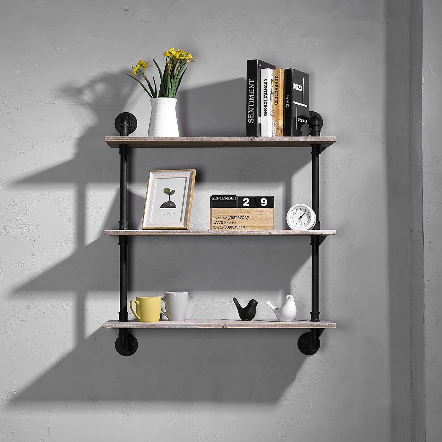 MyGift 3-Shelf Industrial Style Pipe /& Rustic Wood Wall Mounted Shelving Unit