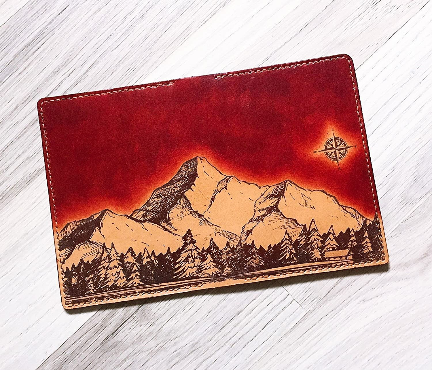 Mountain sky night leather handmade passport cover holder wallet personalized travel gifts accessories customization