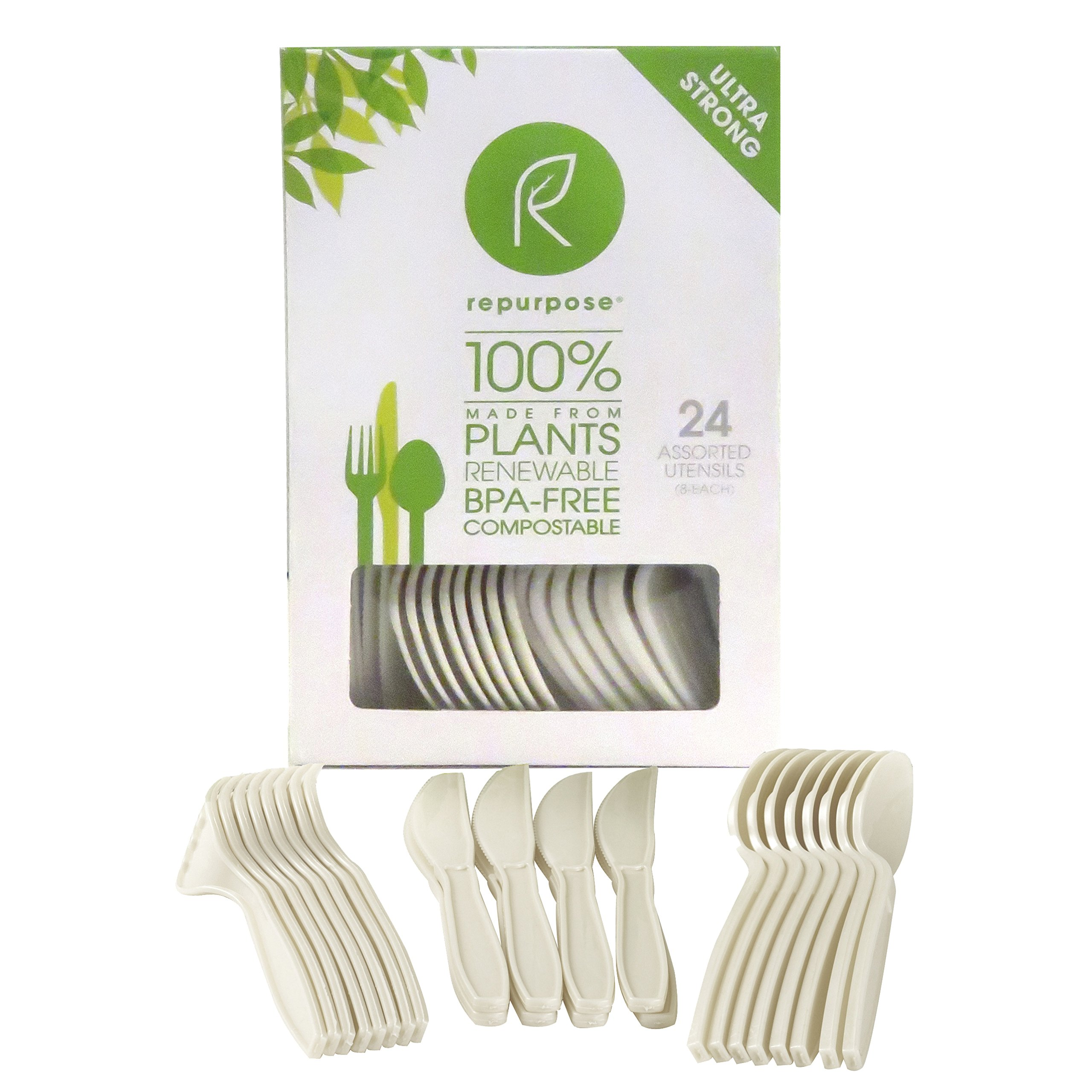 Repurpose 100% Compostable Plant-Based High Heat Utensils Combo Set, 24 Count (Pack - 20)